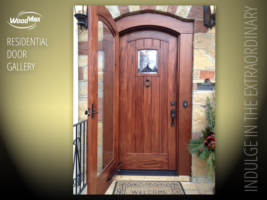 1024 Mahogany Arched Entry showing storm door opened : res door - pezcame.com