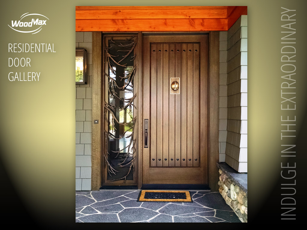 1024 White Oak entry plank style panel featuring clavos and door knocker. Full view sidelight with wrought bronze custom grill. & Custom Door Portfolio Galleries | WoodMax Custom Doors