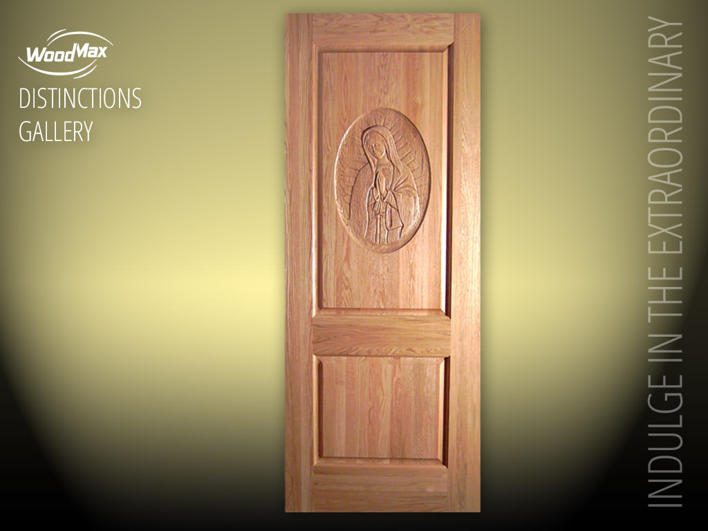 1024 Red Oak Interior Door With Hand Carved Virgin Mary Design