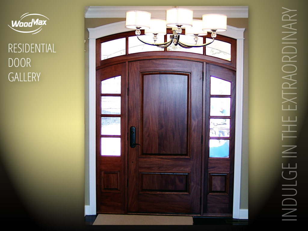 1024: Mahogany Arched Entry With Raised Panels Plus 4 Lite SDL Sidelights  And Transom